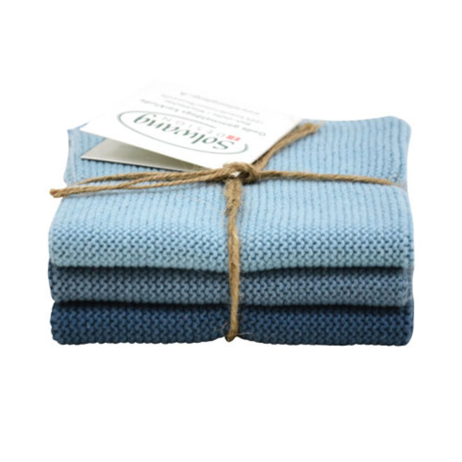 Set knitted dishcloths Rustic Blue (100-101-102)