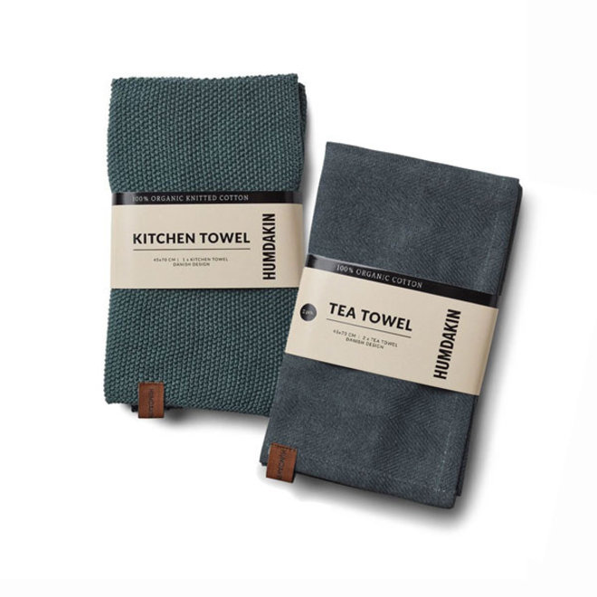 Green Seaweed tea towel and hand towel set