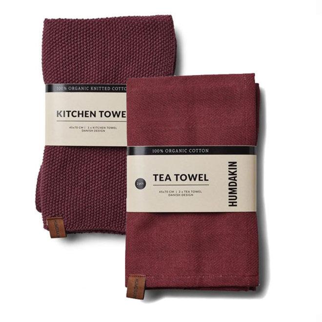Violet Plumb tea towel and hand towel set