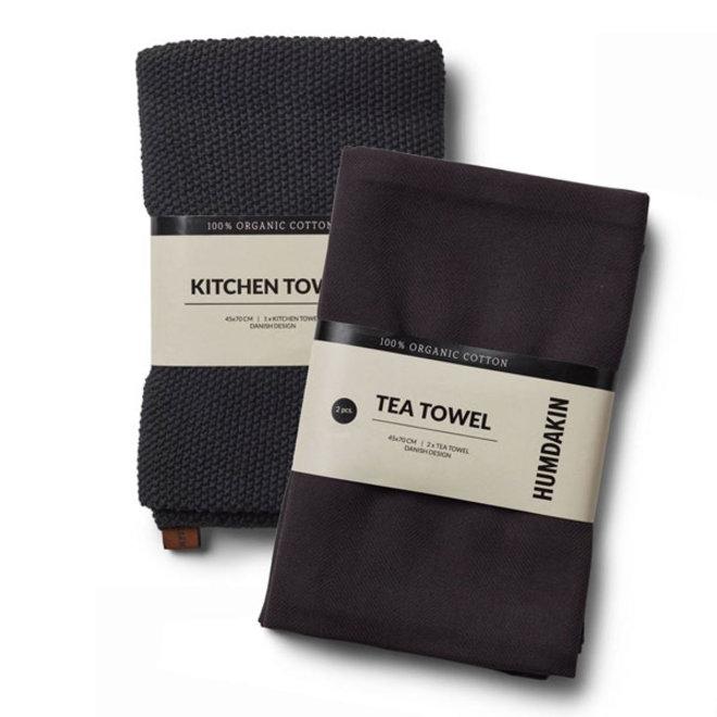 Coal tea towel and hand towel set
