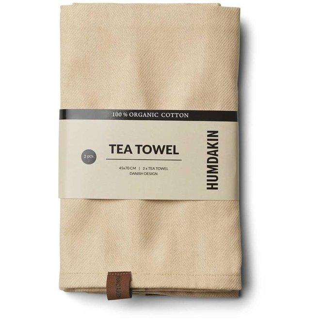 Khaki tea towel and hand towel set