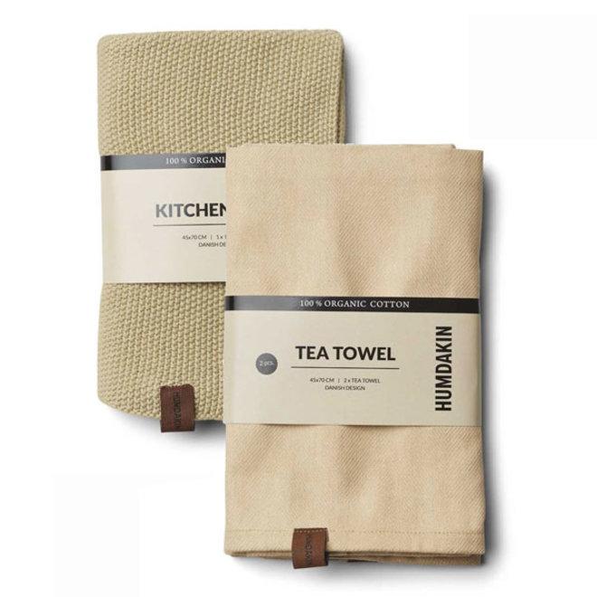 Khaki handdoek en theedoek set