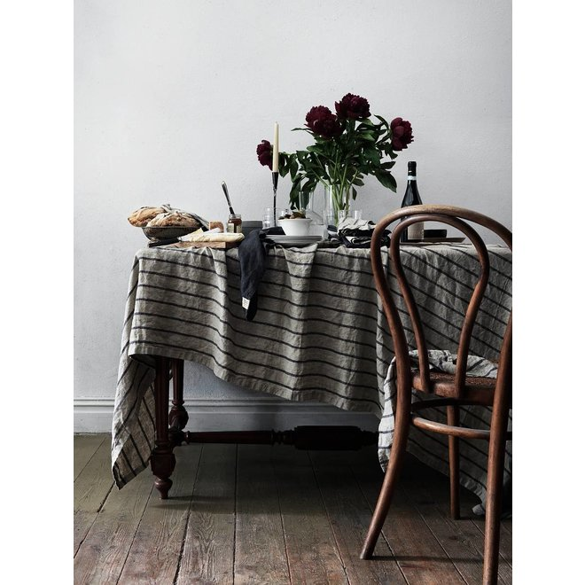 Linen Table cloth Stripe Black 145 x 300 cm