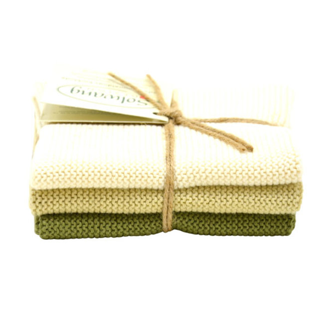 Set knitted dishcloths Nature - Olive (02-03-32)