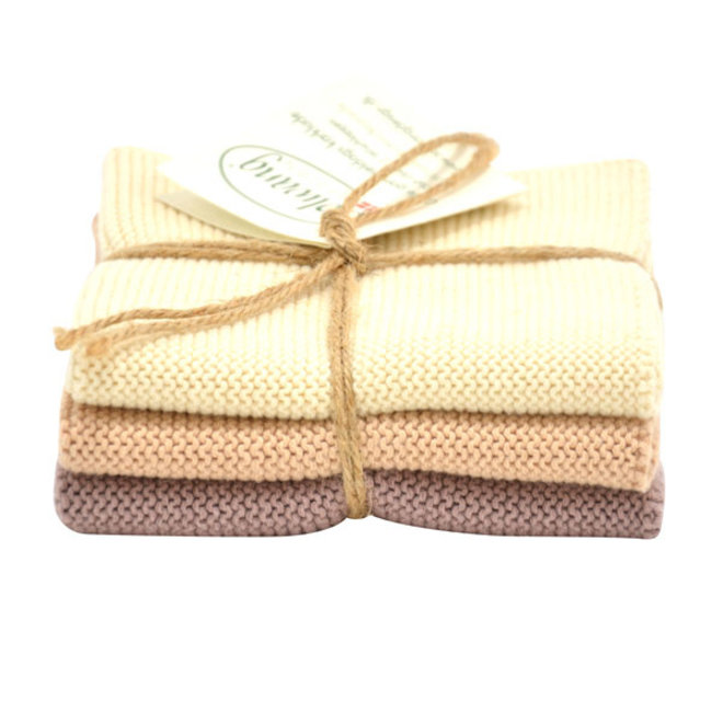 Set knitted dishcloths Nougat