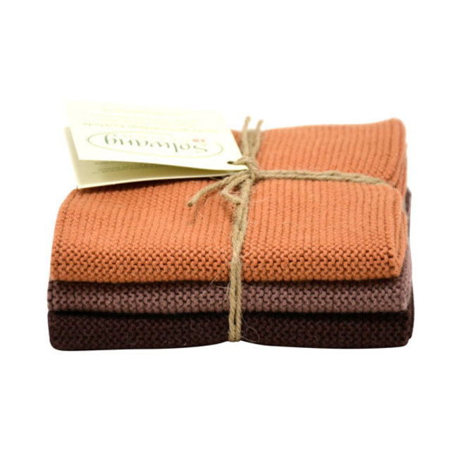 Set knitted dishcloths Chocolate (114-84-115)