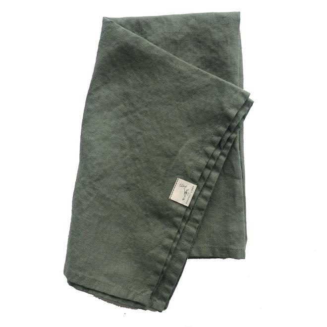 Linen Tea Towel Forest Green