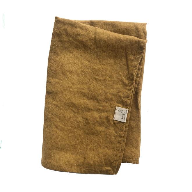 Linen Tea Towel Amber Yellow