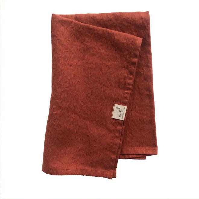 Linen Tea Towel Maroccan red