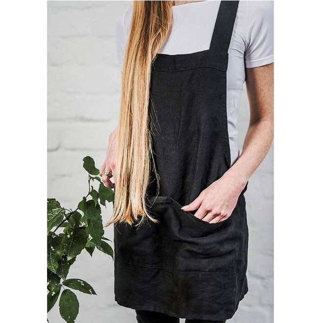 Short linen Japanese  Apron Charcoal