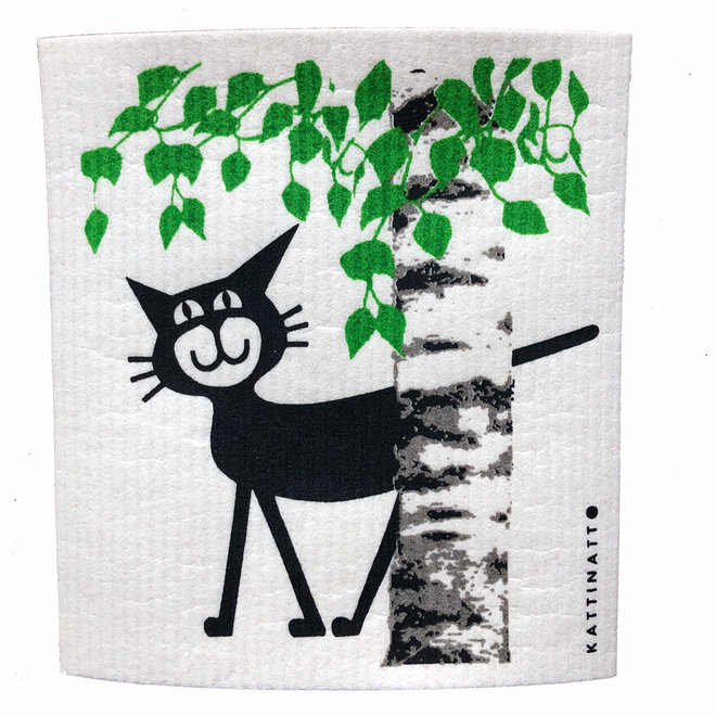 Dishcloth Cat behind Birch Tree