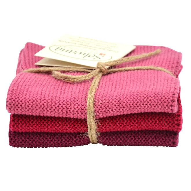 Set knitted dishcloths Bordeaux (74-75-79)