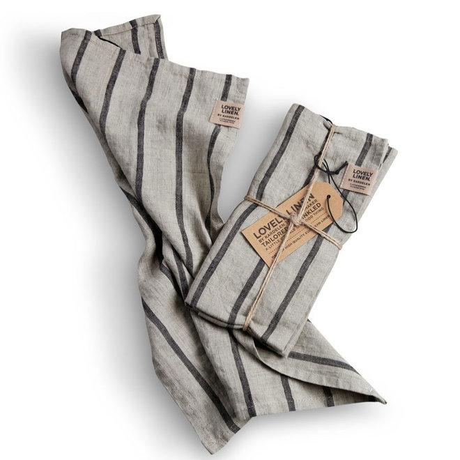Linen Tea towel Misty Stripe Black