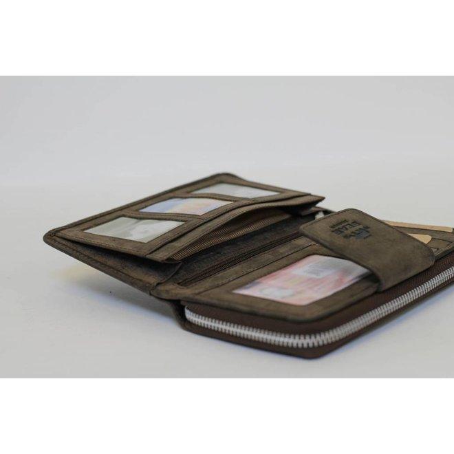 Grote rits portemonnee - Donkerbruin HD 2881
