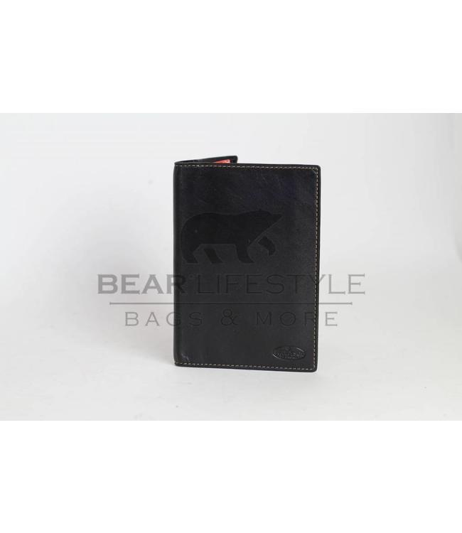 Bear Design Lederen Paspoort/Kentekenmap RO528 Zwart