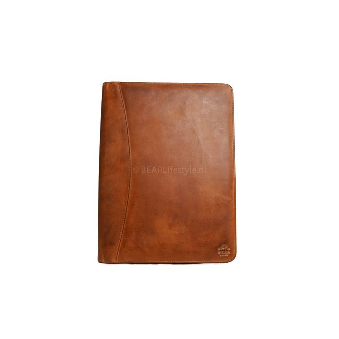 Lederen schrijfmap A4 - CL 7793 Cognac