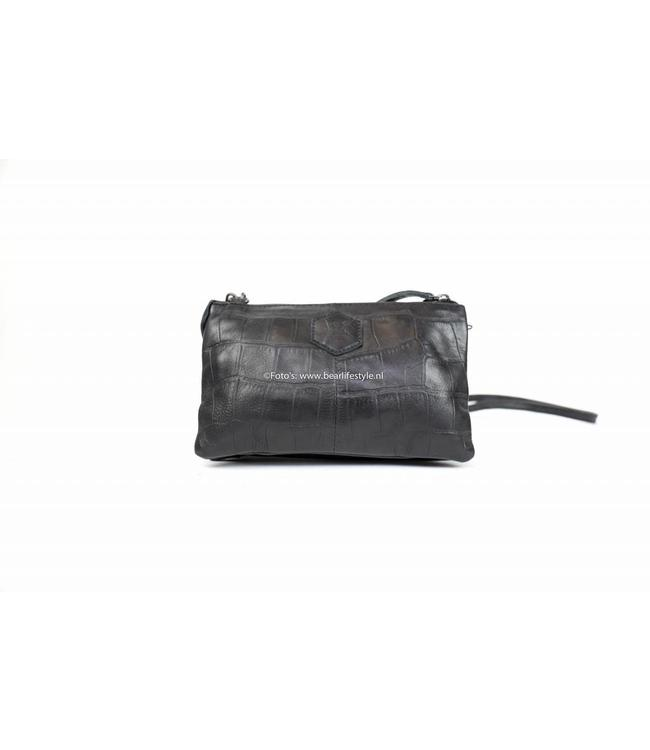 Bear Design Portemonnee tasje XL CP30996 - Croco Zwart 'Uma'