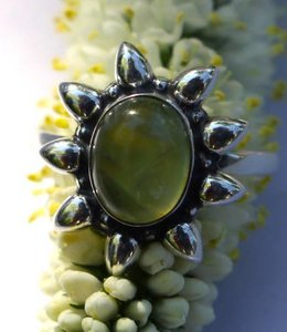 Josephina Prehnite Sun - sterling silver ring