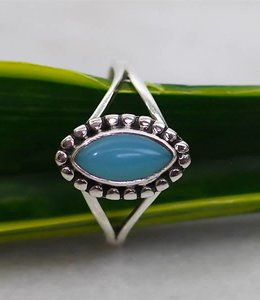 Josephina Blue Chalcedony Cab - Sterling silver ring