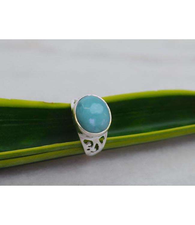 Josephina Larimar Cab - sterling silver ring