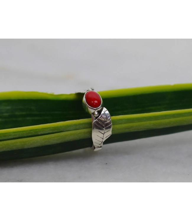 Red Leaf Coral - sterling silver ring