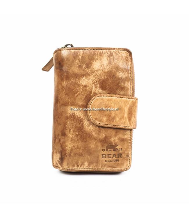 Bear Design Ritsportemonnee Beige - CL13550