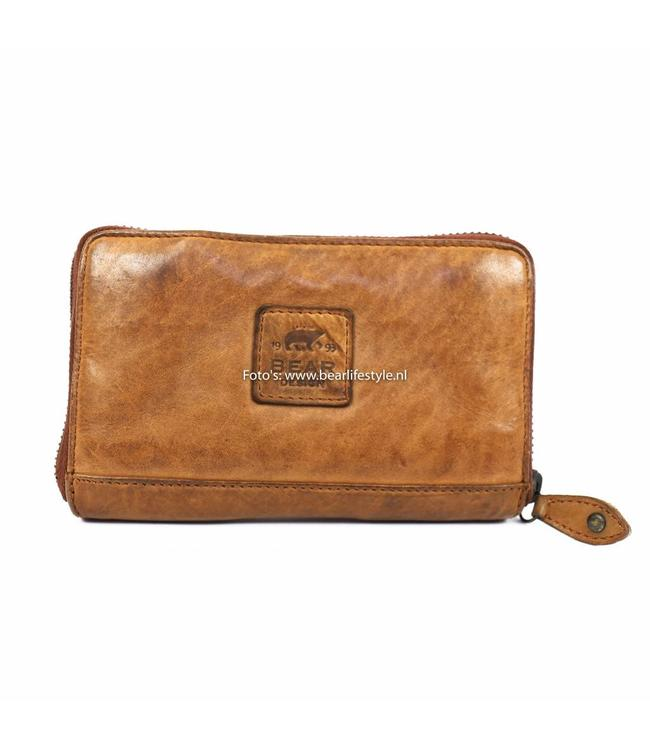 Bear Design Kleine rits portemonnee - Cognac CL14897