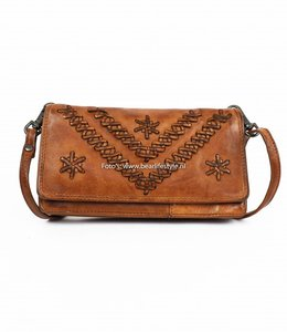 Bear Design Portemonnee tasje CL13995 Cognac 'Stitch'