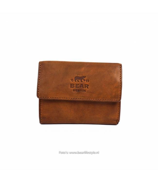 Bear Design Kleines Portemonnaie CL14618 Cognac
