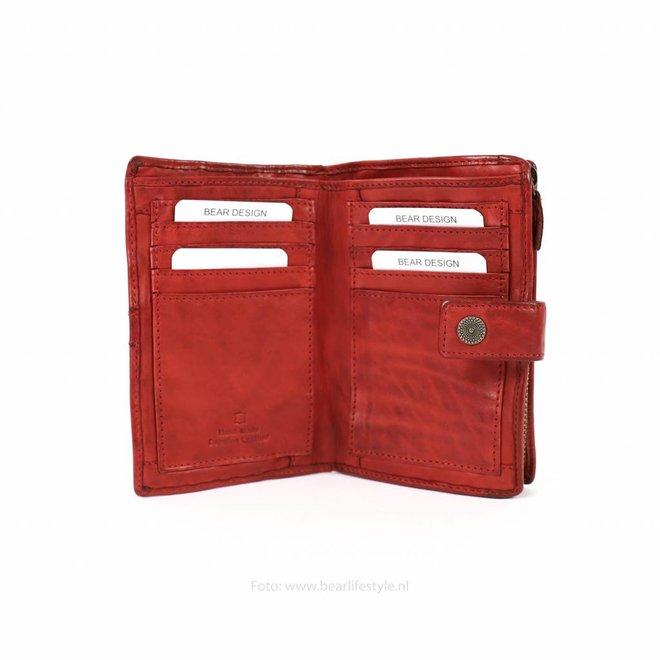 Dames portemonnee 'Sanne' - Rood studs CL 15087