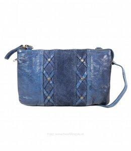 Bear Design Portemonnee-Tasje Groot - Blauw Suede/Lavato