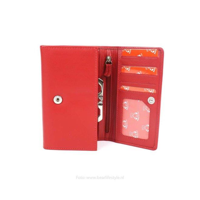 Dames portemonnee met knip - Rood FR9925
