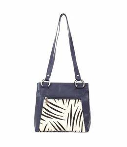 Bear Design Handtas Cow 02013 - Blauw Zebra
