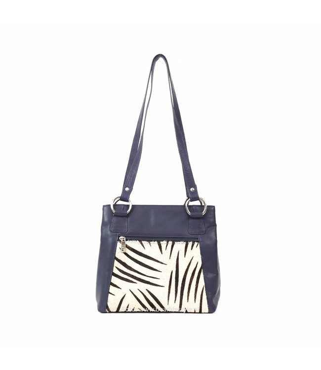 7607fa6cc95fa Handtas Cow 02013 - Blauw Zebra - BEAR Lifestyle