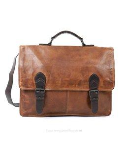 Bear Design Werk-/Laptoptas met Gesp 'Guus' - Cognac/Bruin CL32844