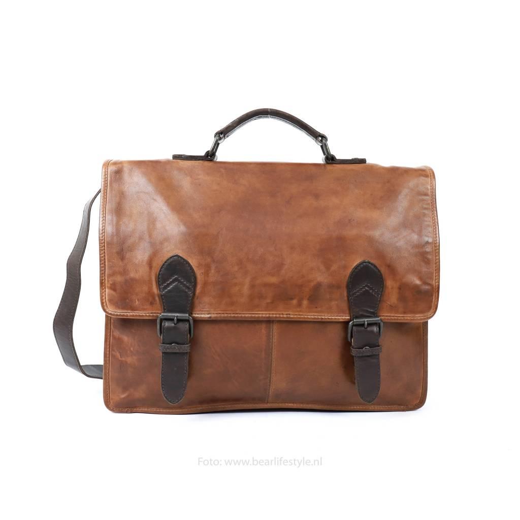 4cef612a5dc Bear Design Werk-/Laptoptas met Gesp Cognac/Bruin CL32844 Shoppen? - BEAR  Lifestyle