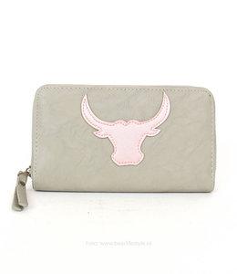 Vegan leather Ritsportemonnee VL2020 - Grijs/roze Stier