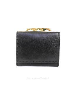 Bear Design Kleine billfold portemonnee met knip FR543 - Zwart