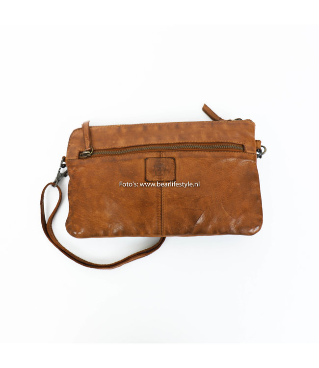 Bear Design Clutch/Schoudertasje 'Dori' - CL 36222 Cognac