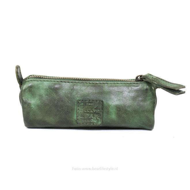 Leren Pennenetui - Groen CL6258