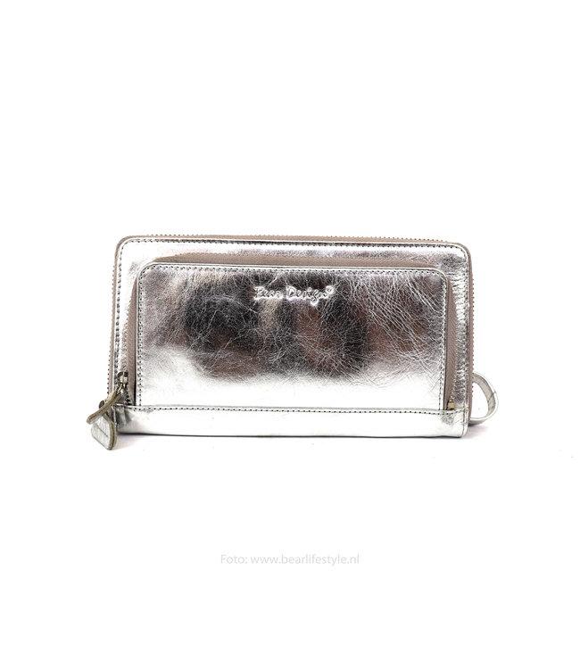 Bear Design Große Geldbörse mit Reißverschluss Damen - FR12569 Silber