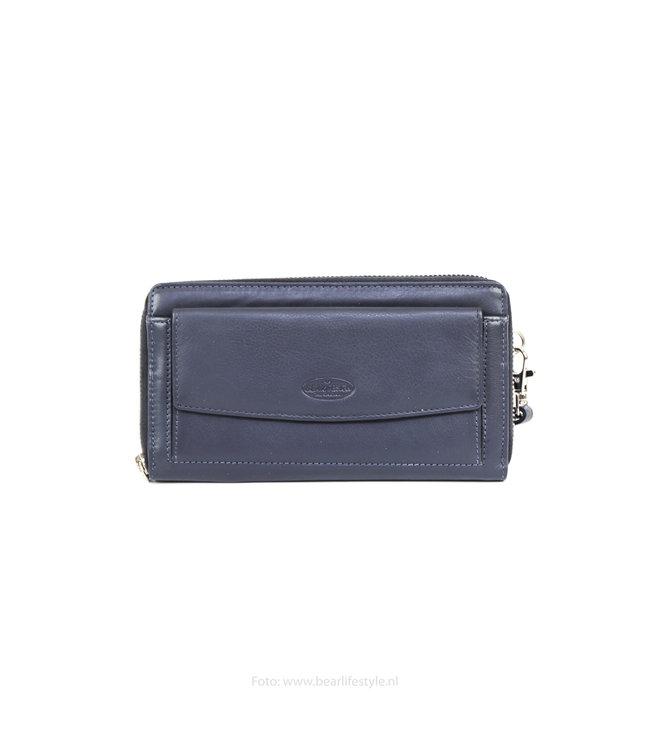 Bear Design Große Geldbörse mit Reißverschluss - FR12708 Blau