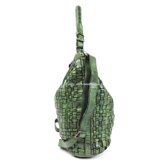 Gevlochten Schoudertas 'Tess' Olijf groen CL32444