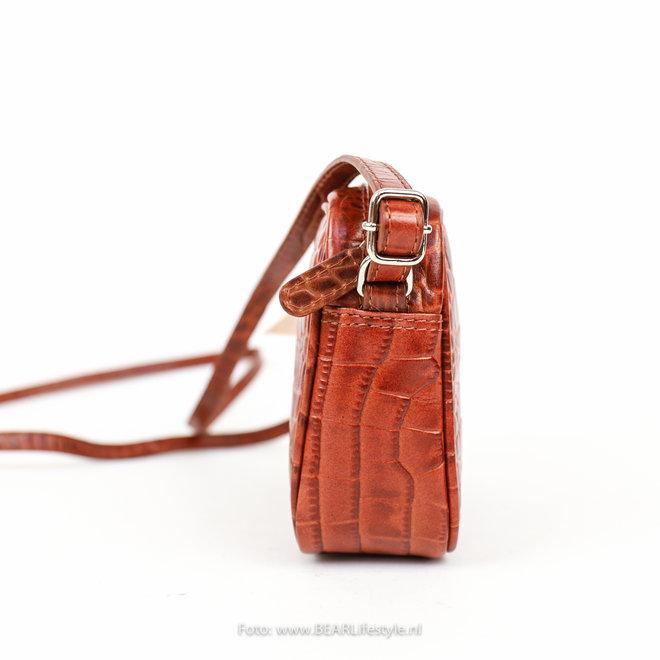 Schoudertasje Snake - Cognac 35928 'Beau'