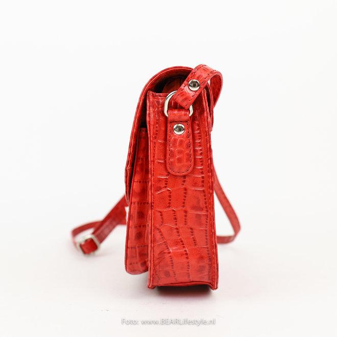 Schoudertasje Snake groot - Rood 35930