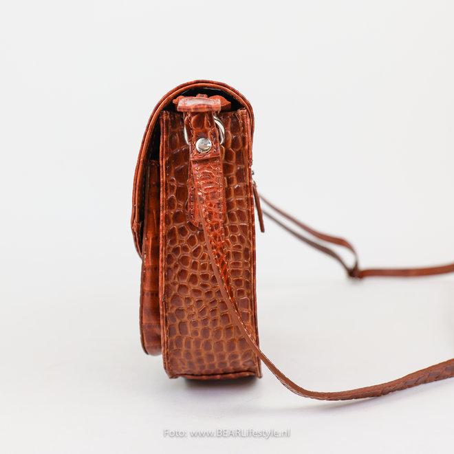 Schoudertasje Snake groot - Cognac 35930