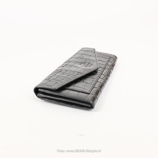 Overslag Portemonnee - Croco JS15124 Zwart