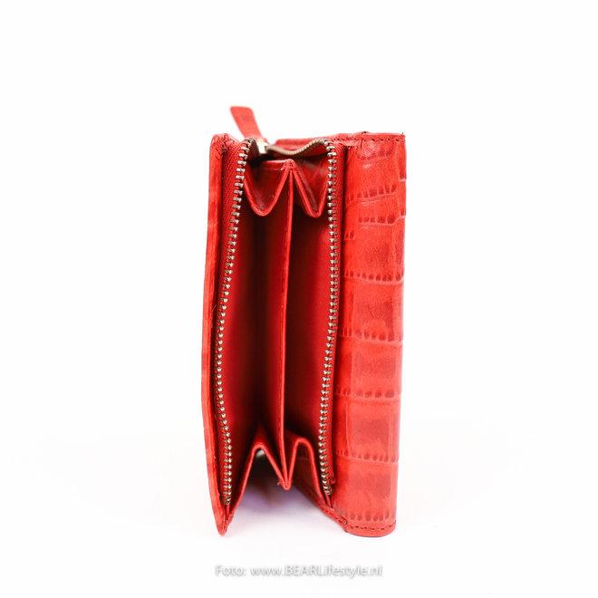 Ritsportemonnee groot 'Croco' - JS14510 Rood