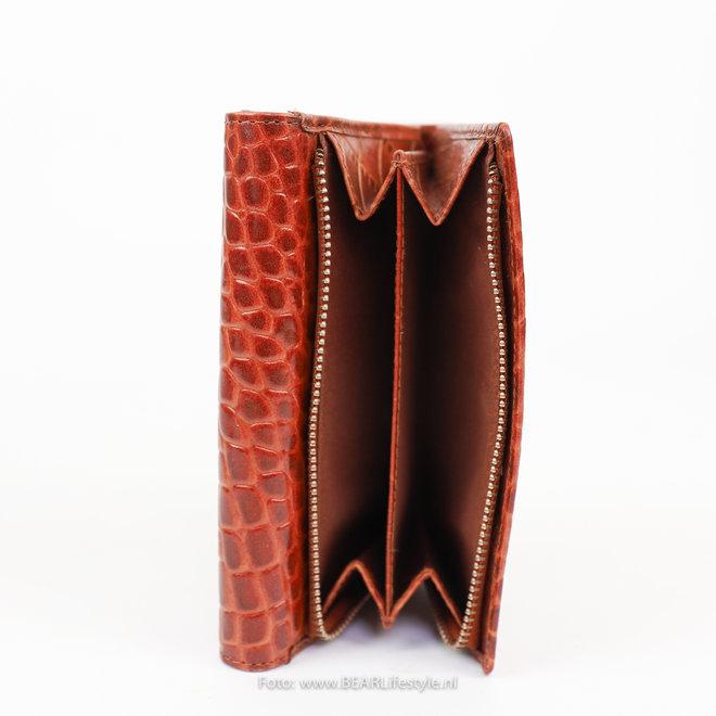 Ritsportemonnee 'Croco' - JS15125 Cognac