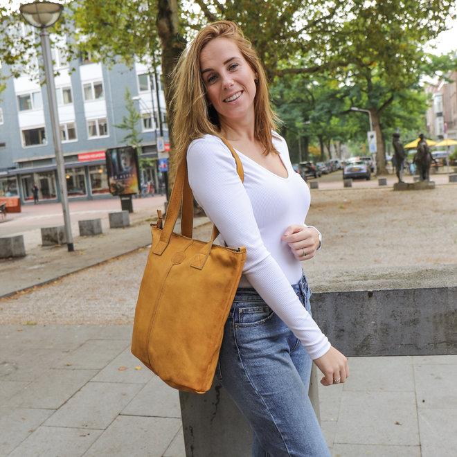 Shopper met schouderband 'Juul' - Geel CP 2087